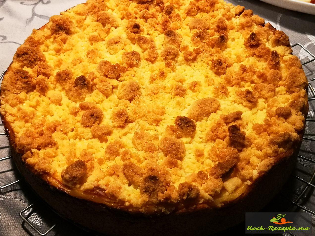 Apfelkuchen mit Pudding und Streusel leicht und schnell gebacken.