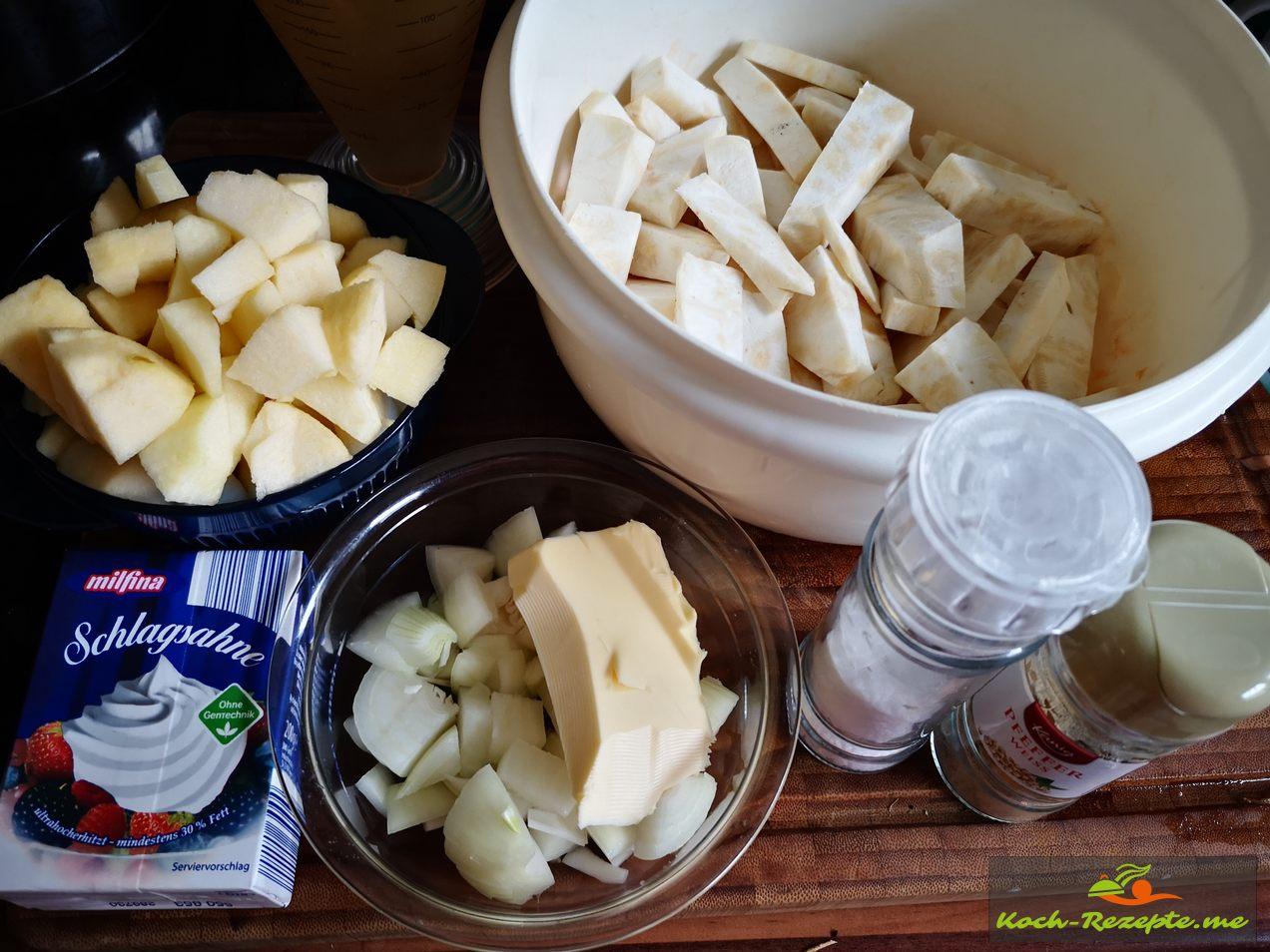 Zutaten Für Sellerie-Apfel Suppe