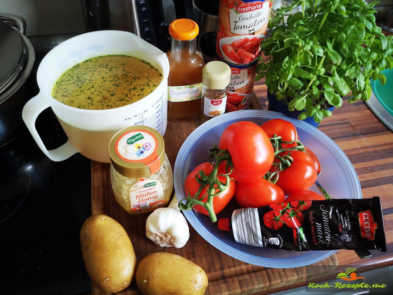 Zutaten für eine frische,fruchtige Tomatensuppe asisch