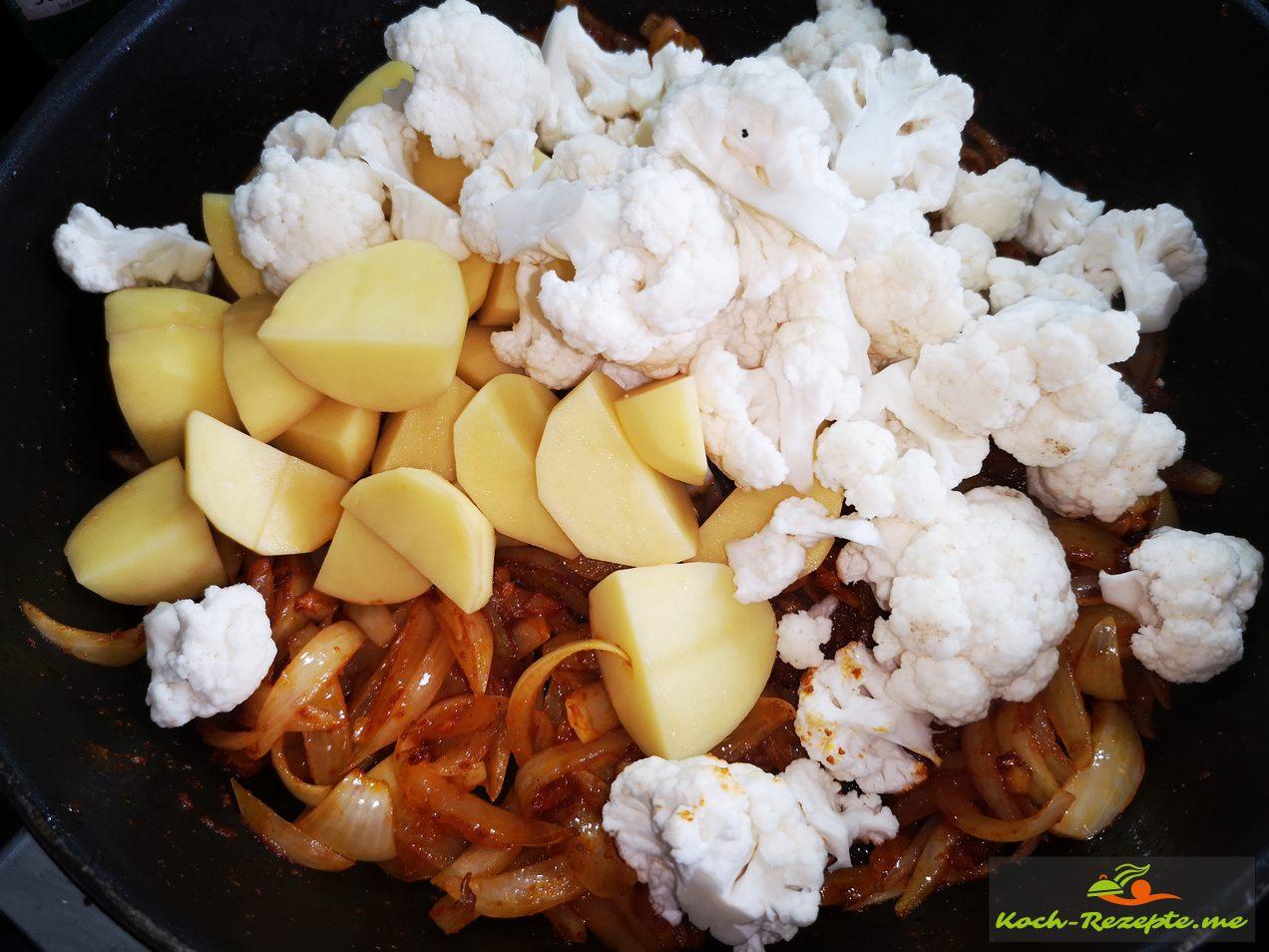 Kartoffeln und Blumenkohl unterheben