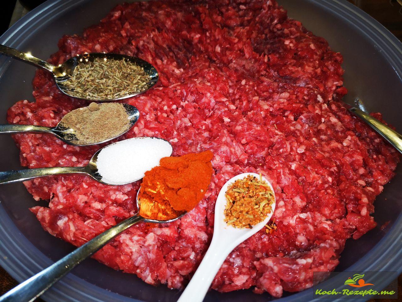 Angus Rinderhackfleisch und Gewürze