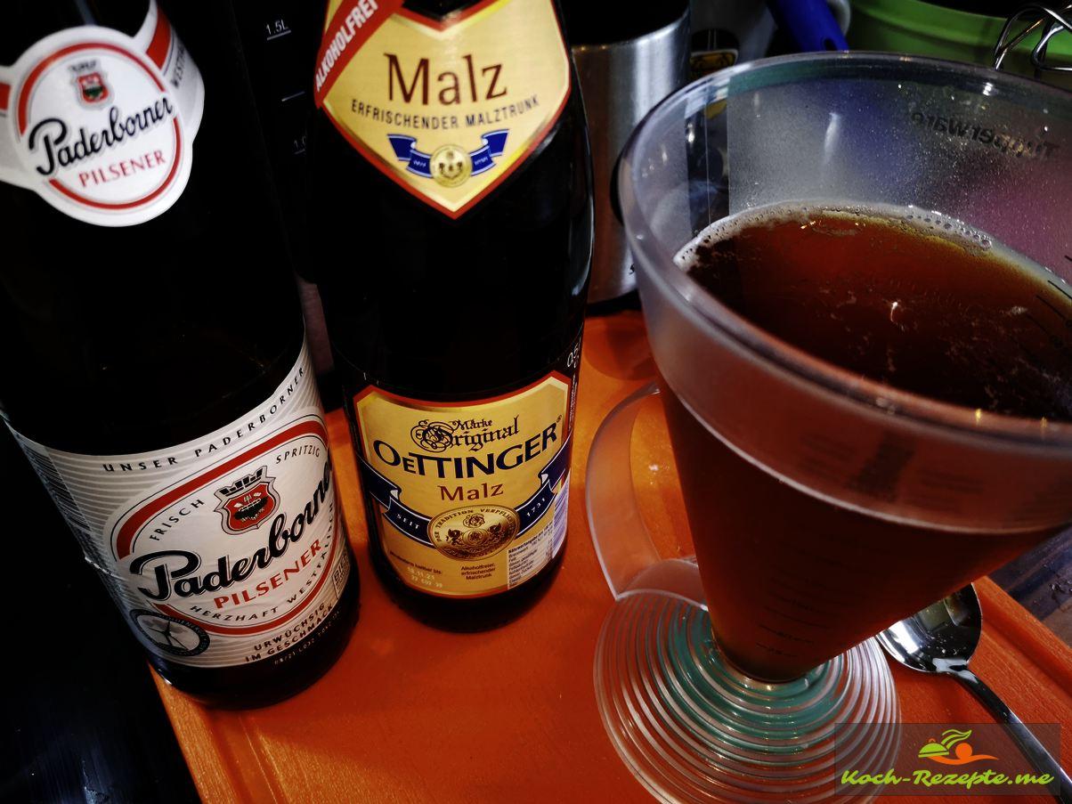 Bier mischen 100 ml Malz und 230ml Helles Bier