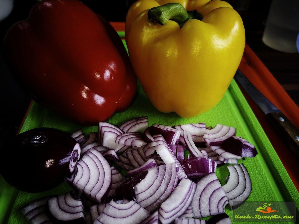 Paprika und Zwiebel
