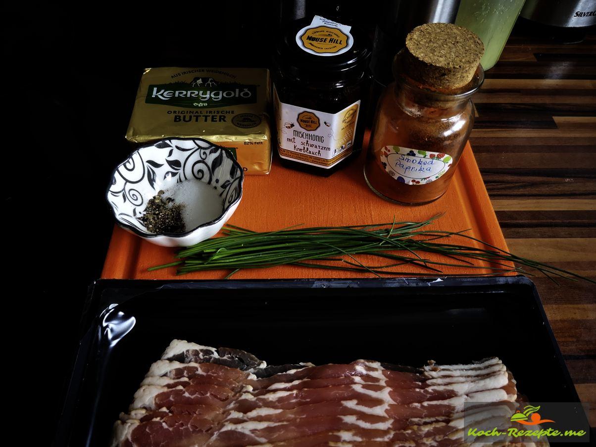Zutaten:Butter,Knoblauchhonig,geräuchertes Paprikapulver,Schnittlauch,Bacon,Salz und Pfeffer