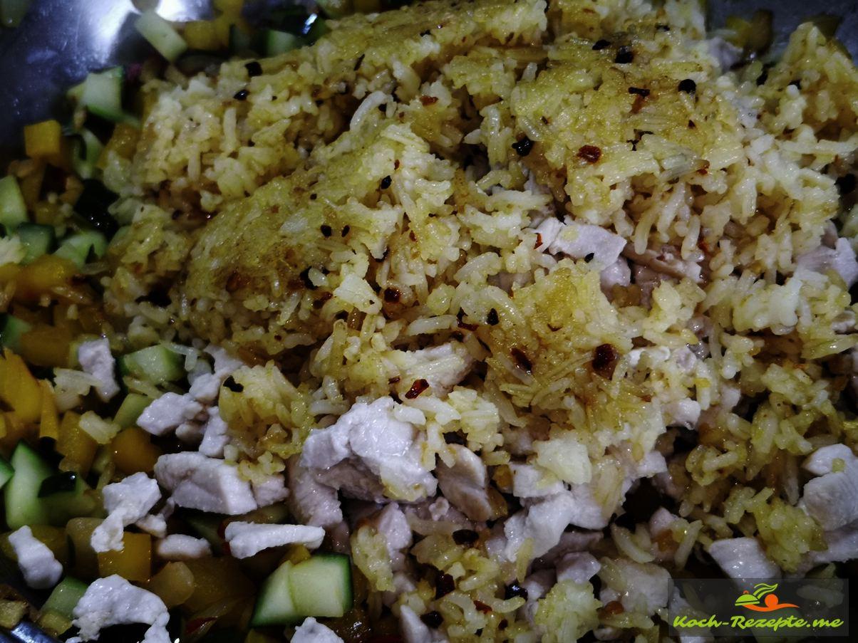 Reis unter Laap Gai Rezept, Hähnchensalat